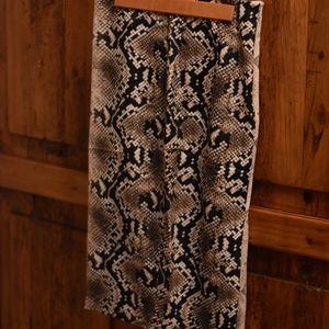 Snake Skin Pattern Satin Pencil Skirt